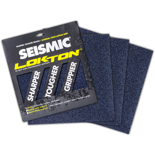 Seismic 36-grit Lokton SOLID Grip Tape - 3 Sheets (11 x 11)